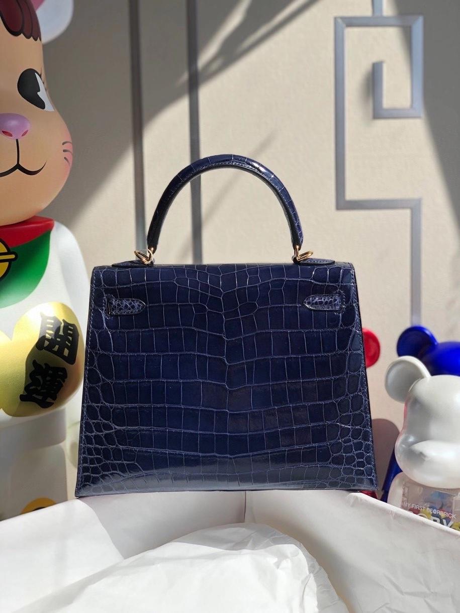 Hermès(爱马仕)Kelly 25cm Crocodile shiny 亮面鳄鱼 7k 宝石蓝 金扣 顶级手缝 现货