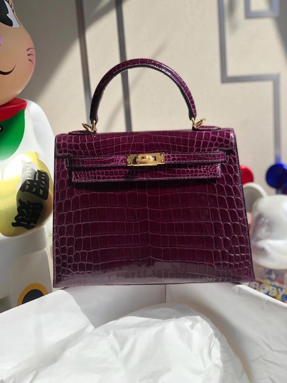 Hermès(爱马仕)Kelly 25cm Crocodile shiny 亮面鳄鱼 N5 加仑紫 金扣 顶级手缝 现货