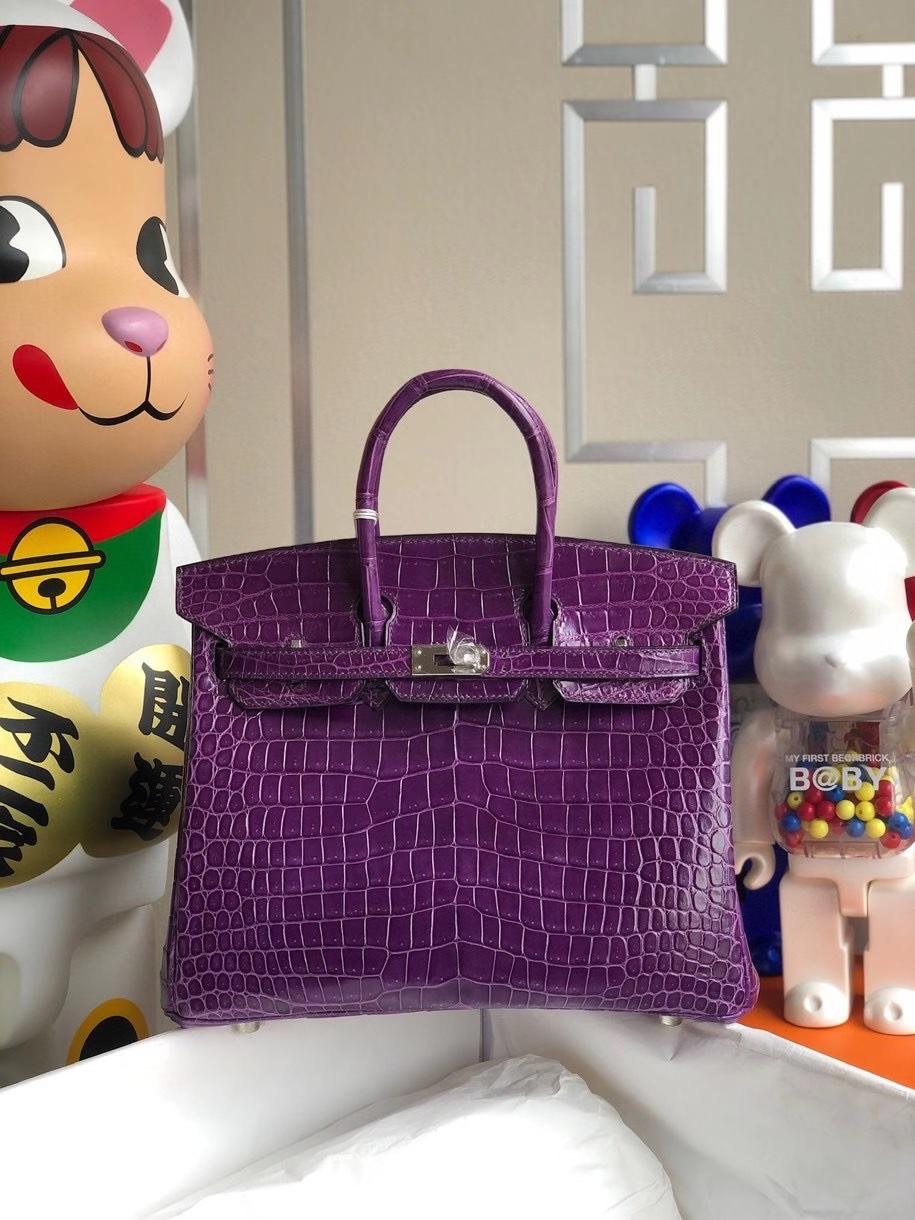 Hermès(爱马仕)Birkin 25cm Porosus shiny 亮面澳洲鳄鱼 葡萄紫 银扣 顶级手缝 现货