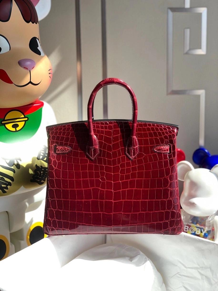 Hermès(爱马仕)Birkin 25cm Crocodile shiny 亮面鳄鱼  F5 勃艮第酒红 银扣  顶级手缝 品相完美 现货