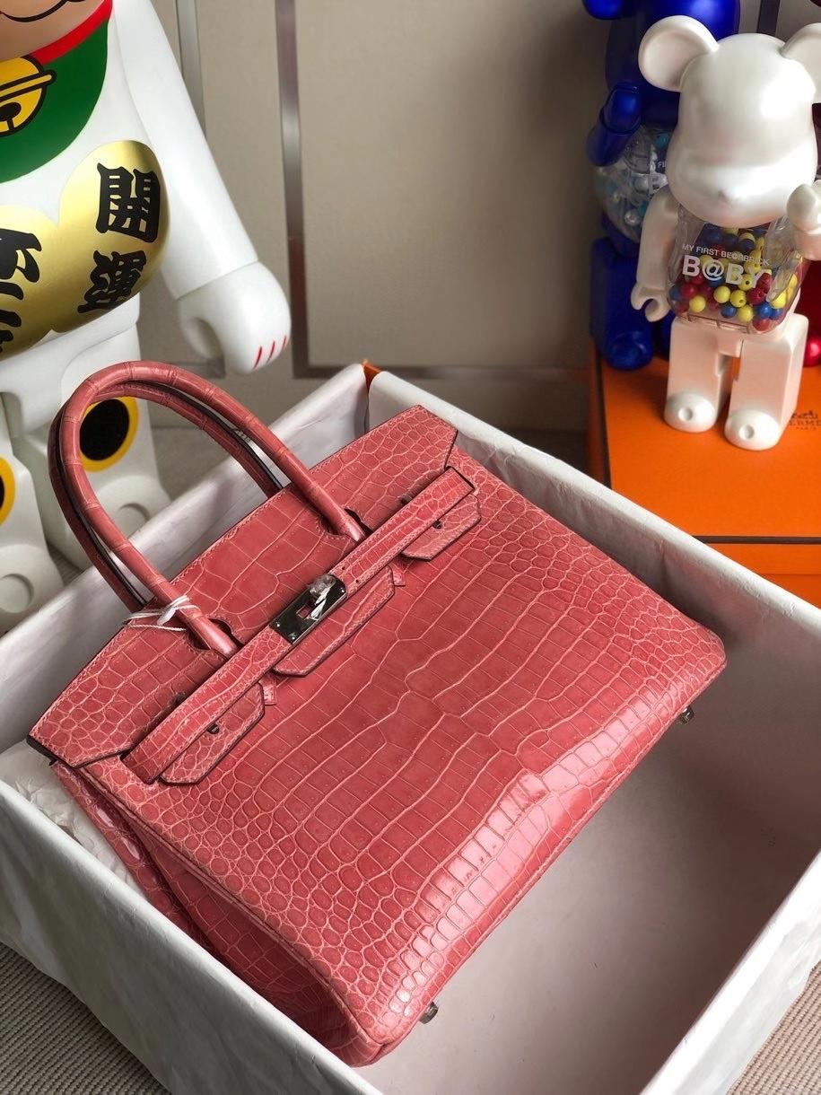 Hermès(爱马仕)Birkin 30cm Porosus shiny 亮面澳洲湾鳄 龙虾粉 银扣 顶级手缝 品相完美 现货