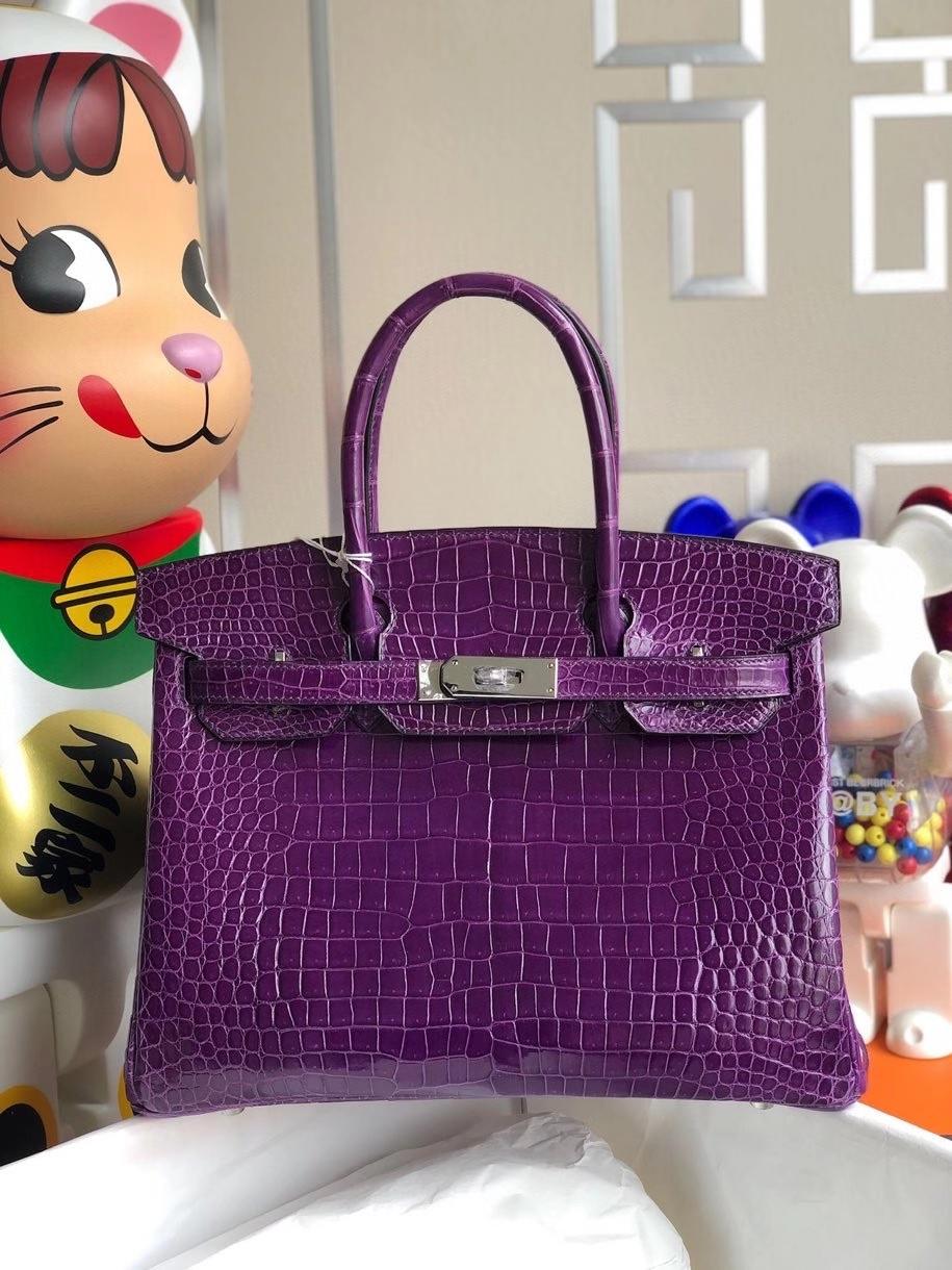 Hermès(爱马仕)Birkin 30cm Porosus shiny 亮面澳洲湾鳄 紫水晶 银扣 顶级手缝 品相完美 现货