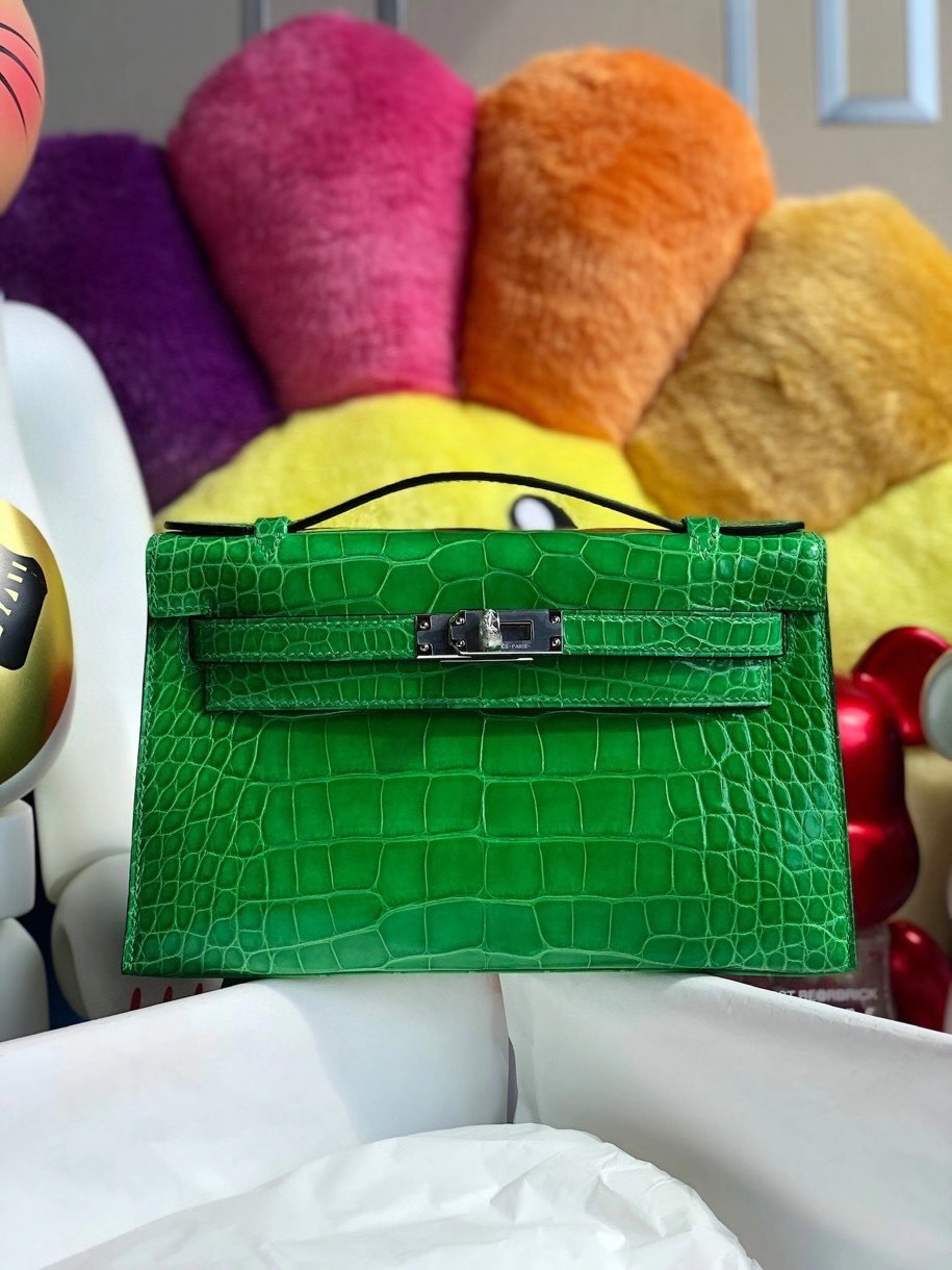 Hermès(爱马仕)Mini kelly pochette 22cm Alligator shiny 亮面鳄鱼 1L仙人掌绿 银扣 顶级手缝 晚宴包 现货