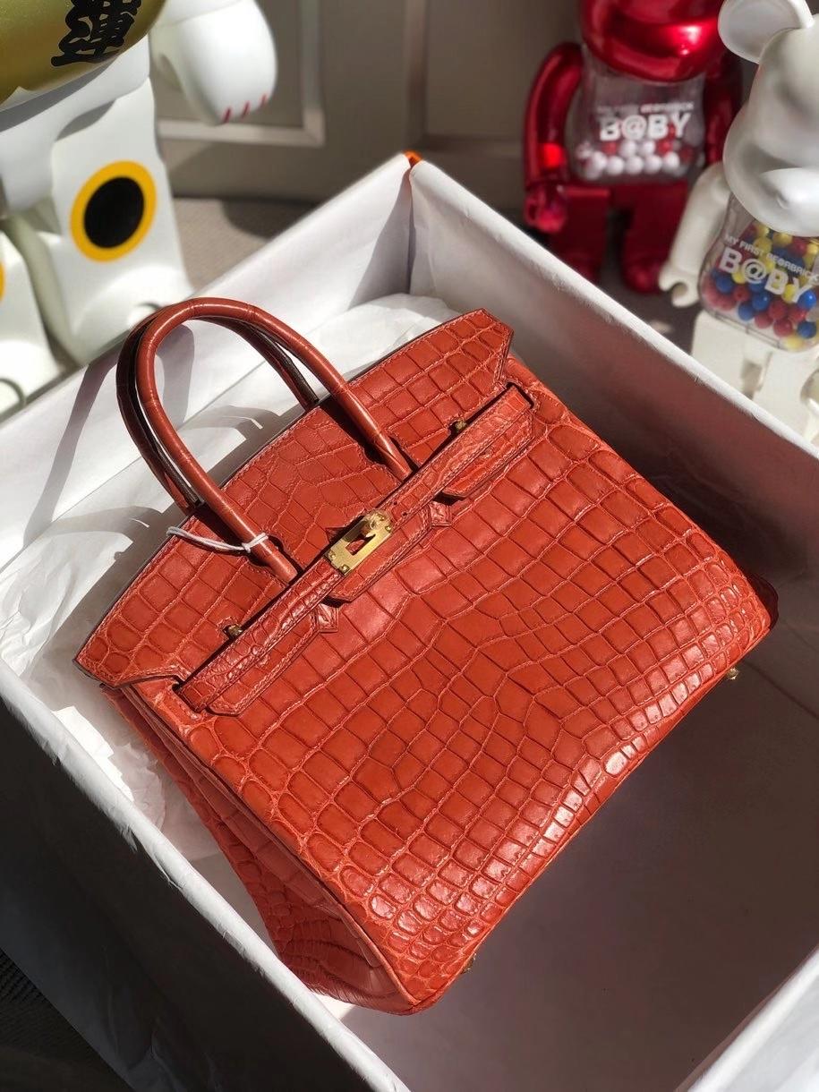 Hermès(爱马仕)Birkin 25cm Crocodile  matt 雾面鳄鱼 M9 三文鱼红 金扣 顶级手缝  品相完美 现货