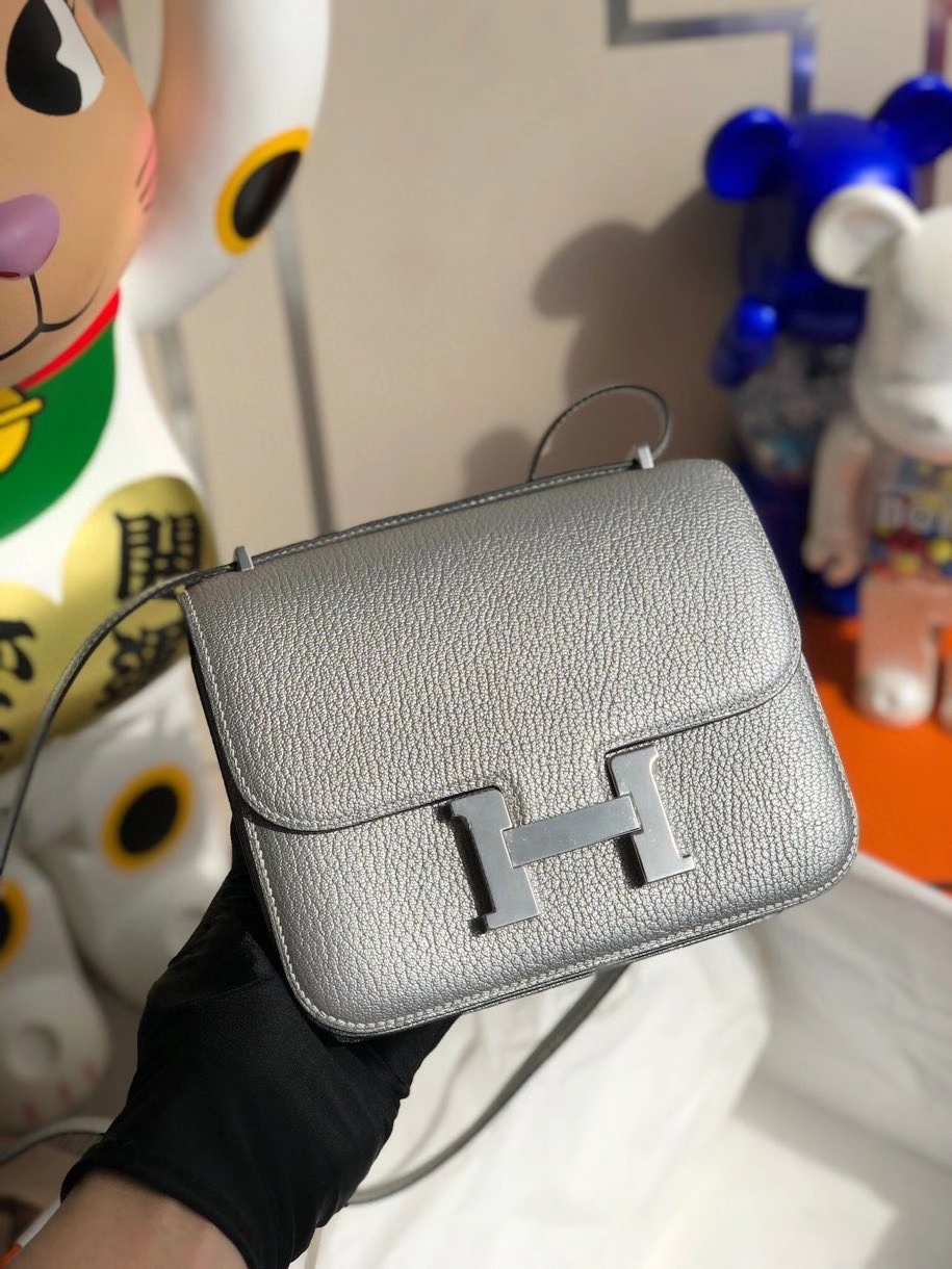 Hermès(爱马仕)Constance 18cm Chevre 山羊皮 银色 银扣 顶级手缝 限量定制