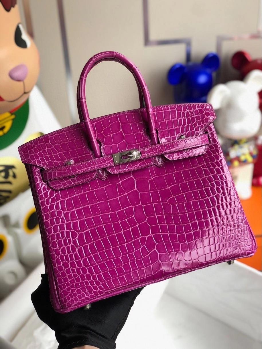 Hermès(爱马仕)Birkin 25cm Porosus shiny 亮面澳洲鳄鱼 L3玫瑰紫 rose purple 银扣 顶级手缝 现货