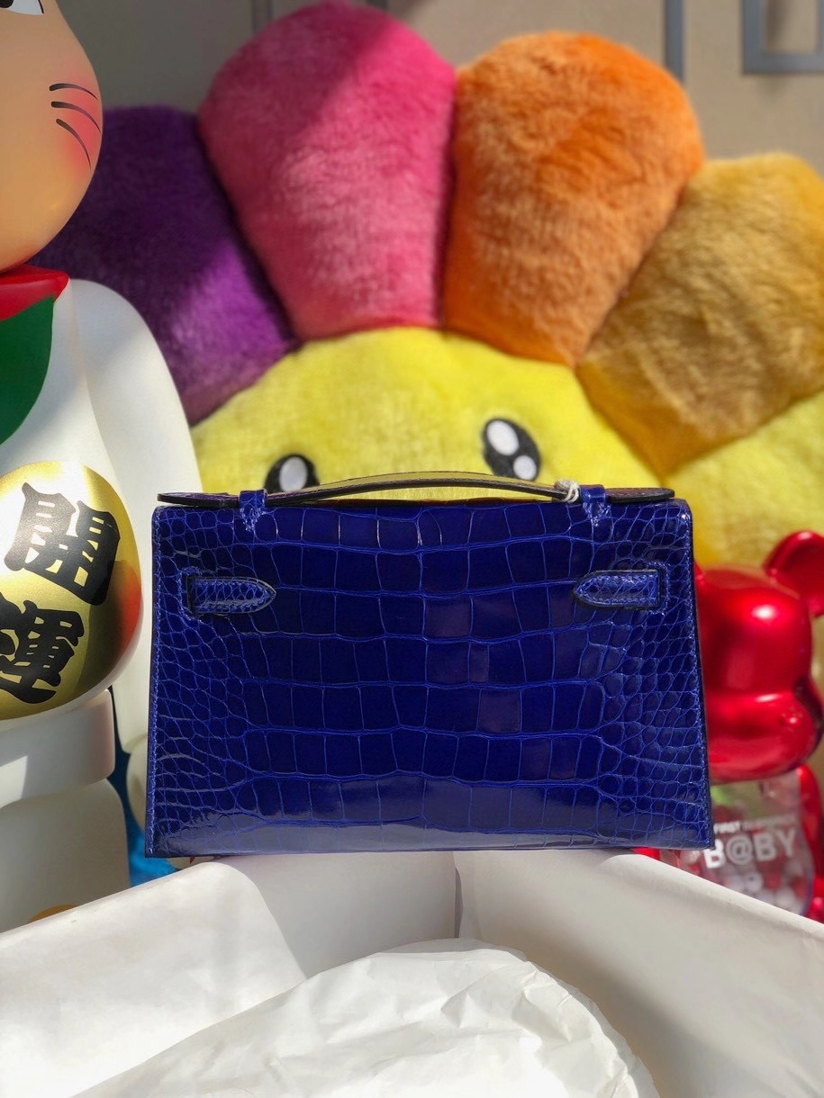 Hermès(爱马仕)Mini kelly pochette 22cm Alligator shiny 亮面鳄鱼 7T 电光蓝 金扣 顶级手缝 晚宴包 现货
