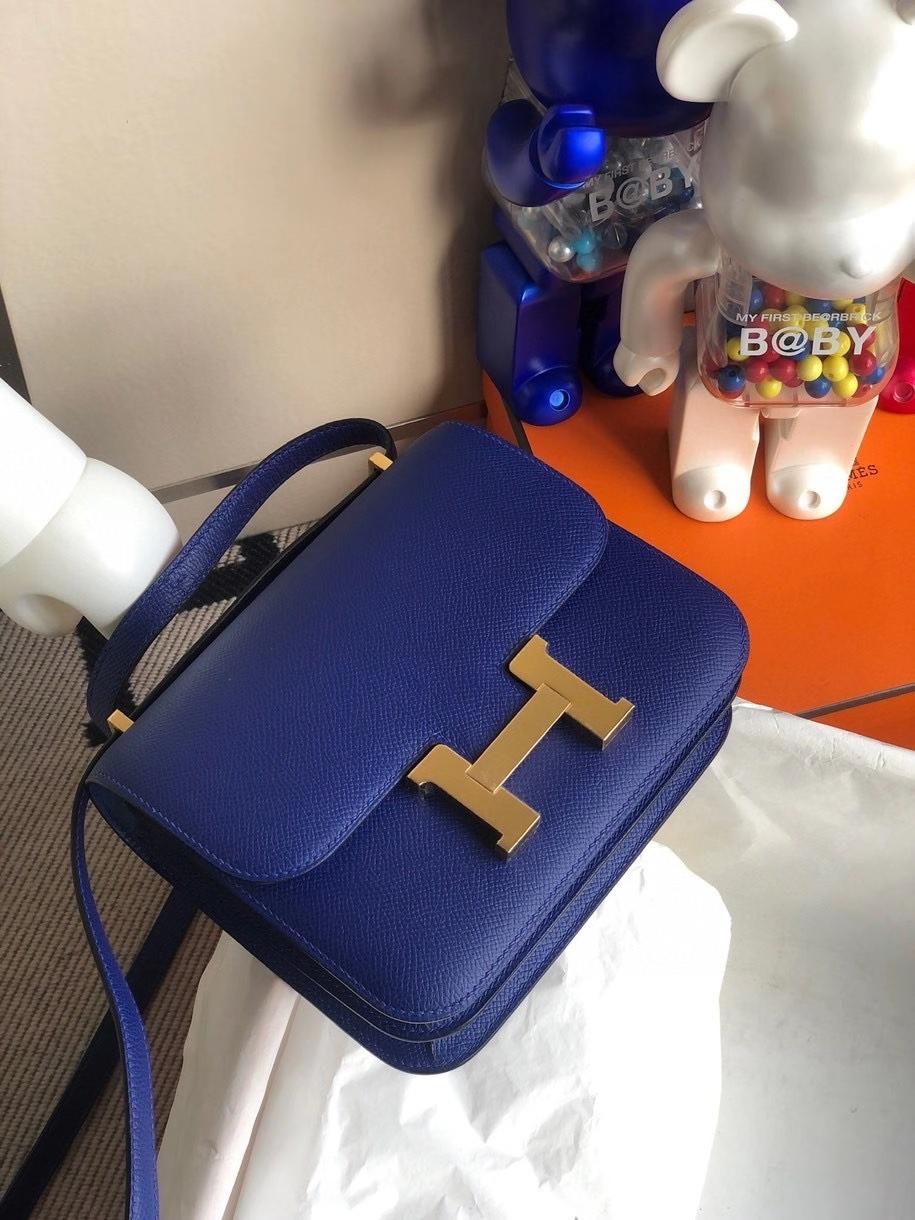 Hermès(爱马仕)Constance 18cm Epsom 原厂掌纹皮 7T 电光蓝 金扣 顶级手缝 定制