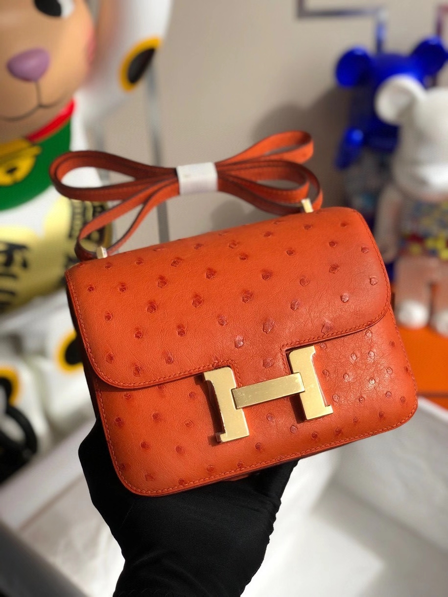 Hermès(爱马仕)Constance 18cm Ostrich kk 鸵鸟 93橙色 Orange 金扣 顶级手缝 现货