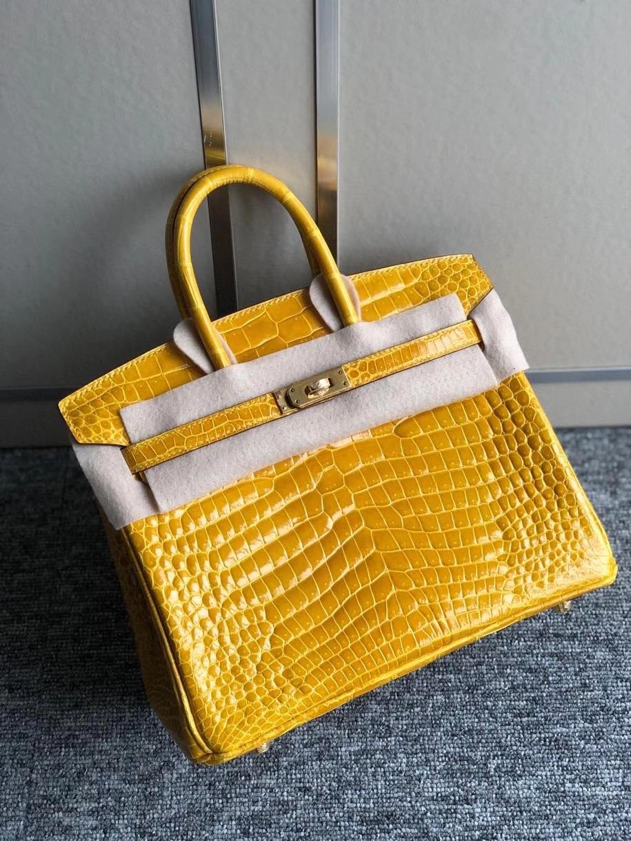 Hermès(爱马仕)Birkin 25cm Porosus shiny 亮面澳洲湾鳄 9D 琥珀黄 Ambre 金扣 顶级手缝 现货