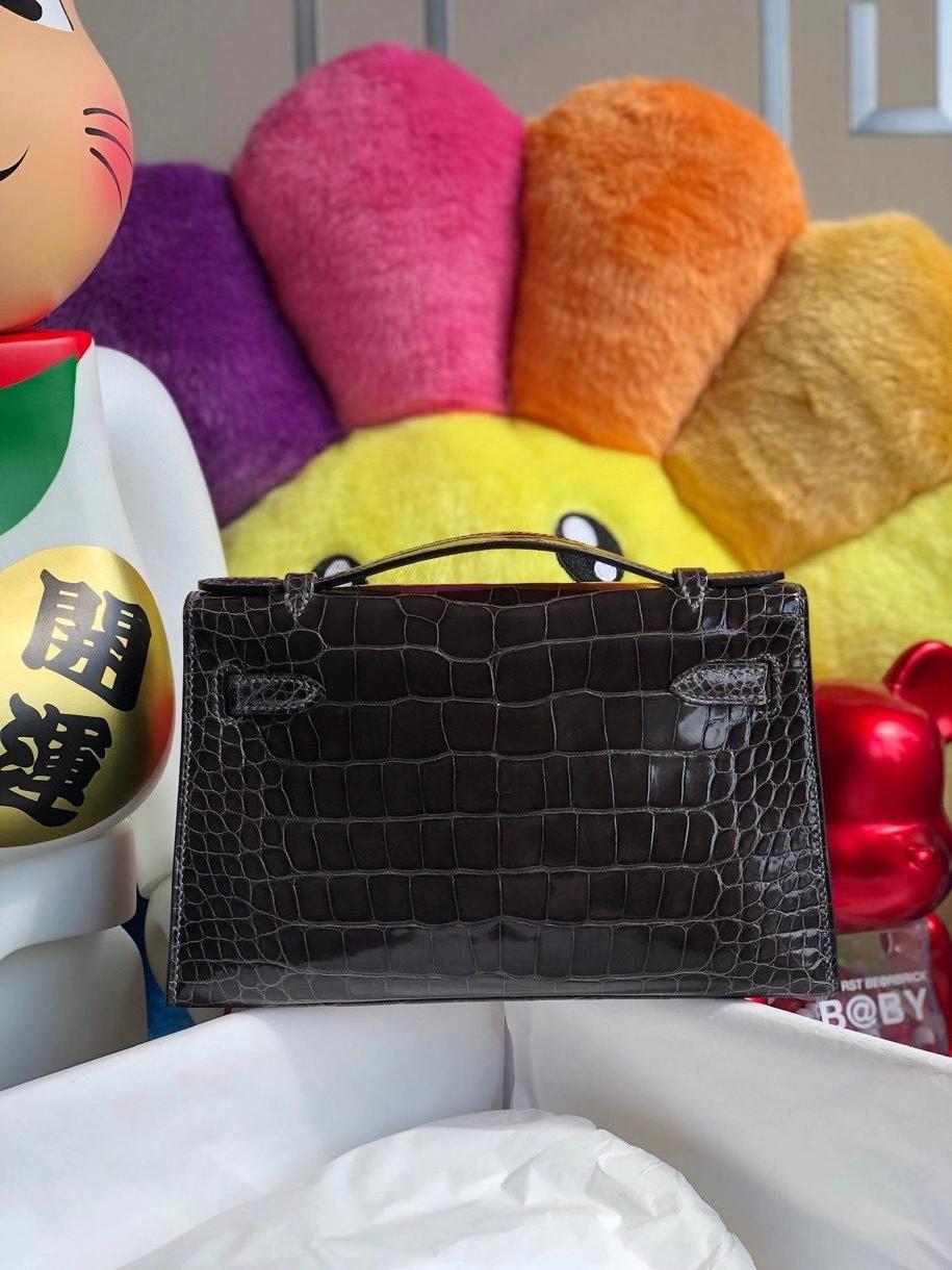 Hermès(爱马仕)Mini kelly pochette 22cm Alligator shiny 亮面鳄鱼 ck88 石墨灰 graphite 金扣 晚宴包 顶级手缝 现货