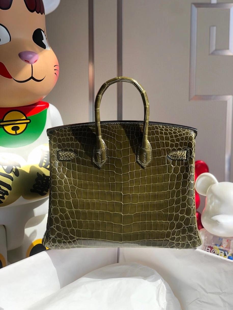 Hermès(爱马仕)Birkin 25cm Crocodile shiny 亮面鳄鱼 C6 深橄榄绿 银扣 顶级手缝 品相完美 现货