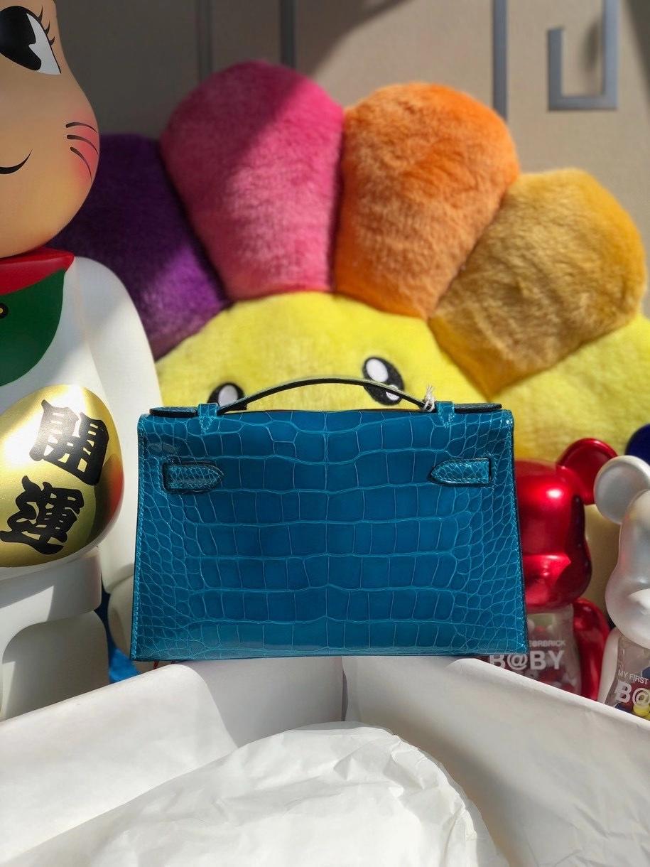 Hermès(爱马仕)Mini kelly pochette 22cm Alligator shiny 亮面鳄鱼 7w 伊兹密尔蓝 金扣 顶级手缝 晚宴包 现货