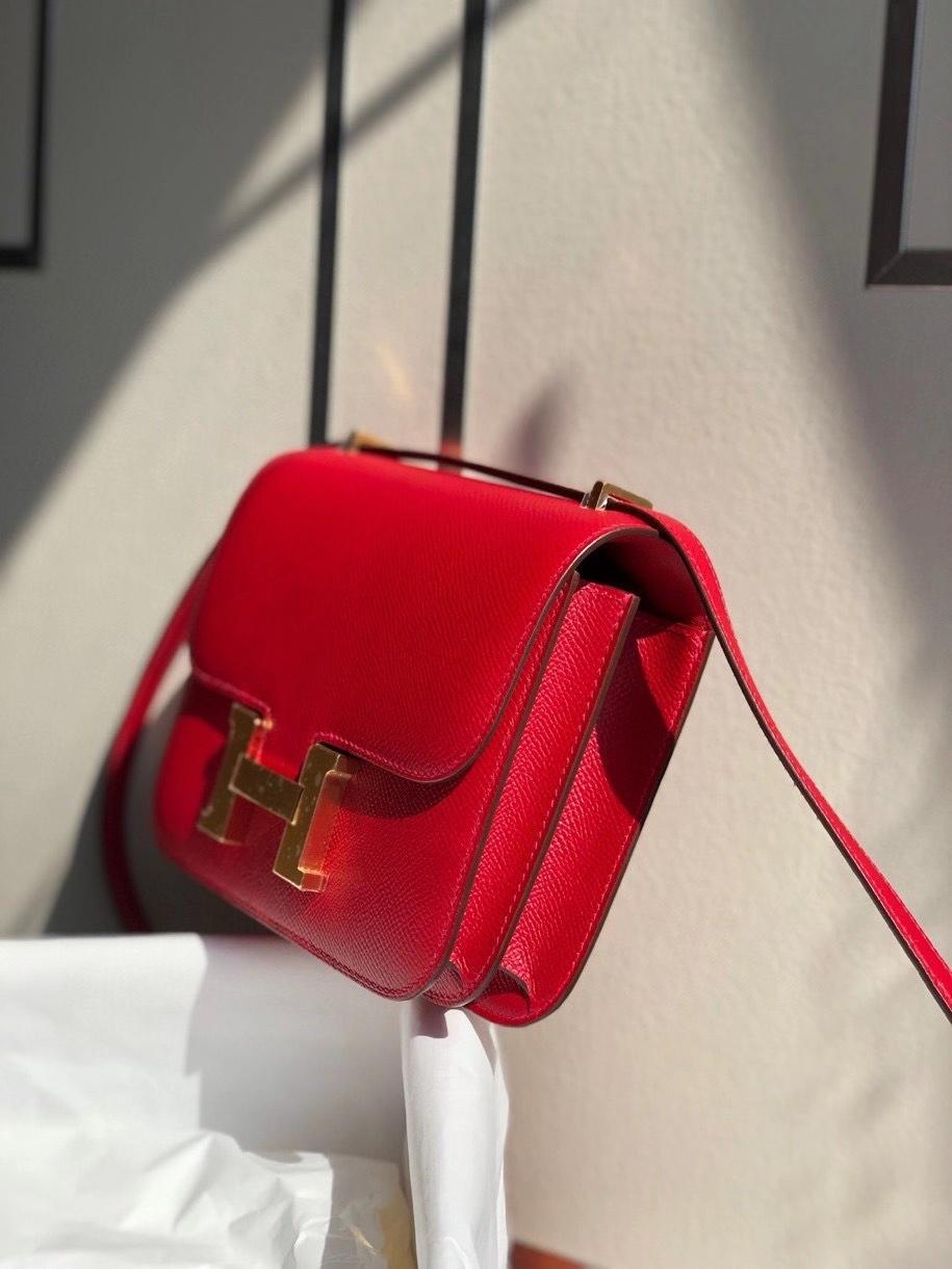 Hermès(爱马仕)Constance 18cm Epsom 原厂掌纹皮 Q5国旗红 金扣 顶级手缝 现货
