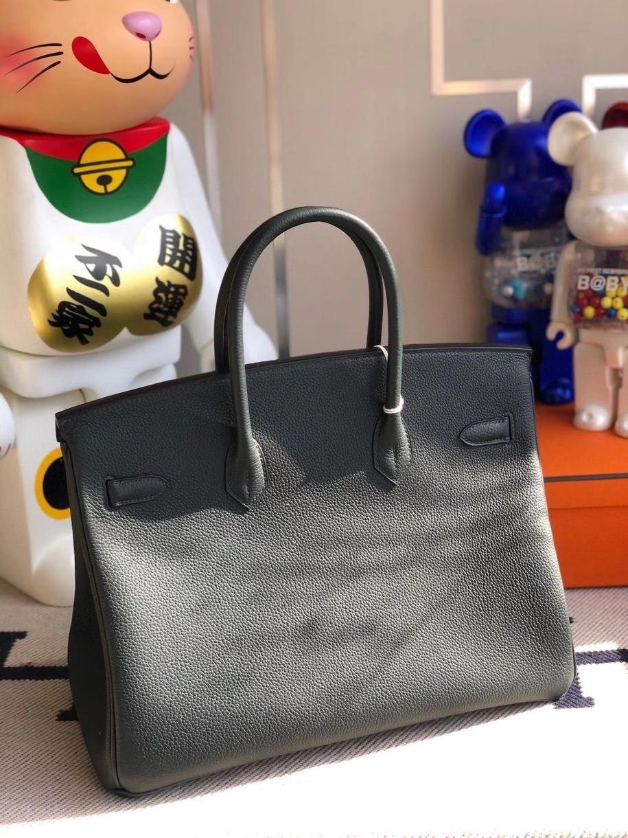 Hermès(爱马仕)Birkin 35cm 6o 柏树绿拼双杠琉璃蓝 银扣 顶级手缝 定制