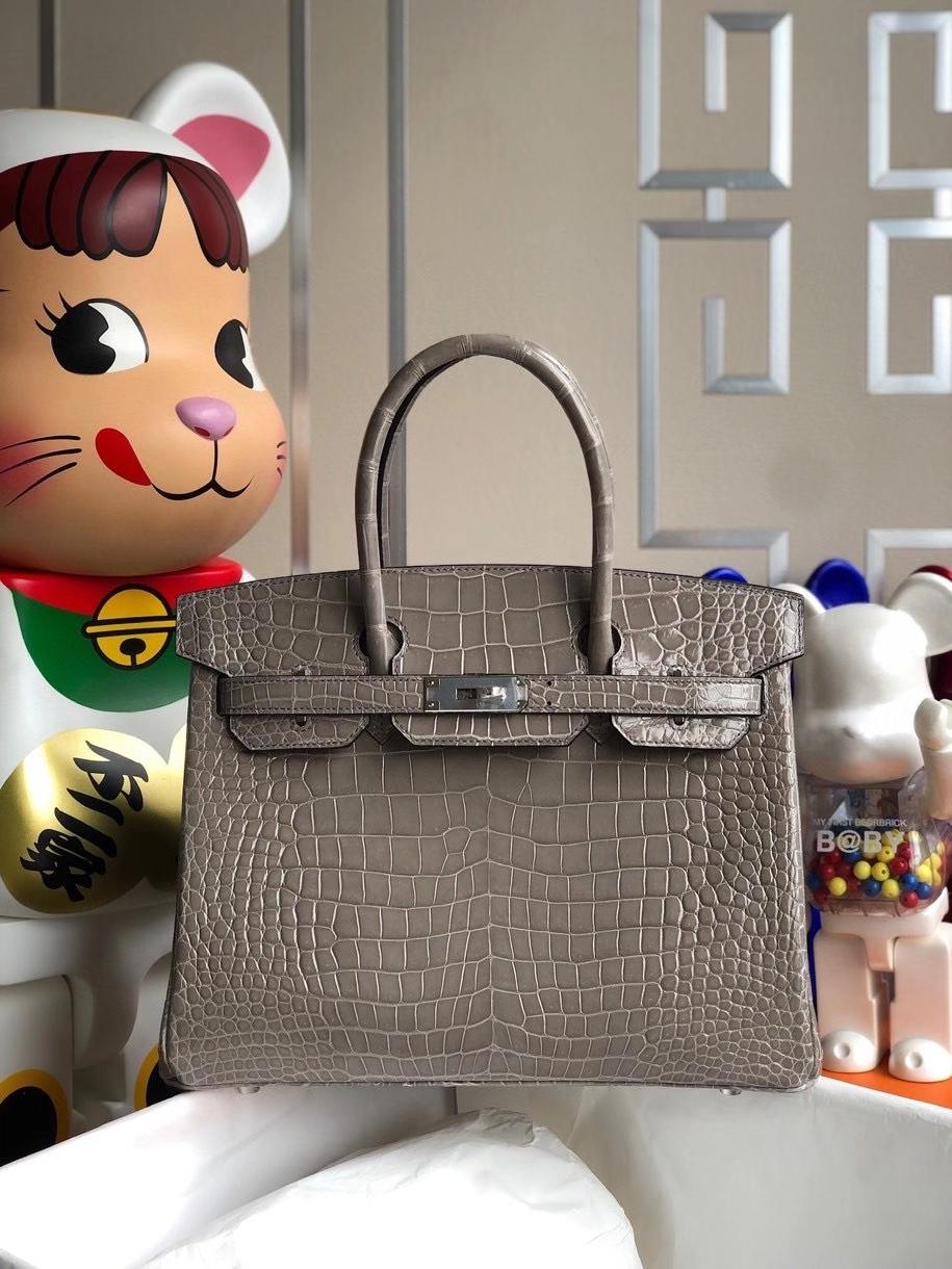 Hermès(爱马仕)Birkin 30cm Porosus shiny 亮面澳洲湾鳄 ck81 斑鸠灰 Gris T 银扣 顶级手缝 现货
