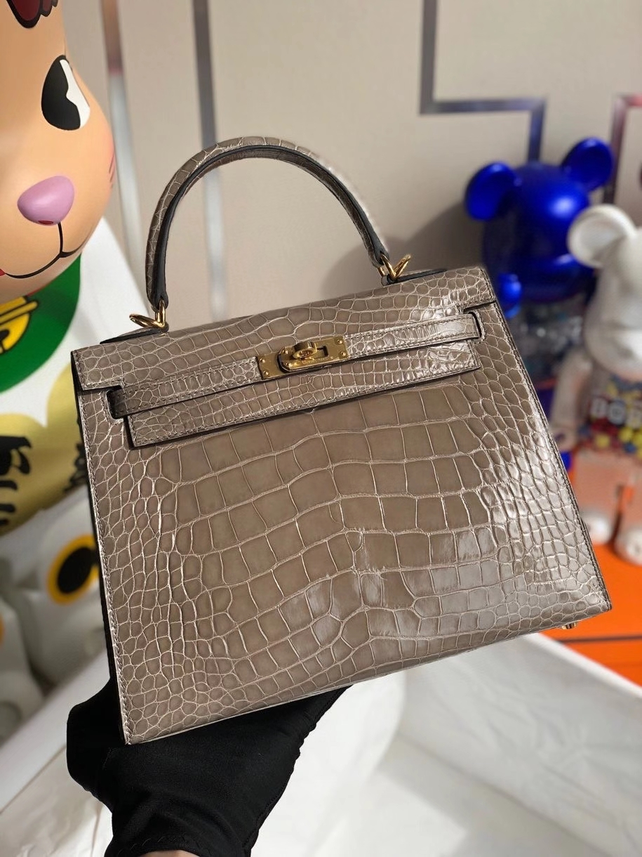 Hermès(爱马仕)Kelly 25cm Alligator shiny 亮面鳄鱼 ck81 斑鸠灰 金扣 顶级手缝  现货