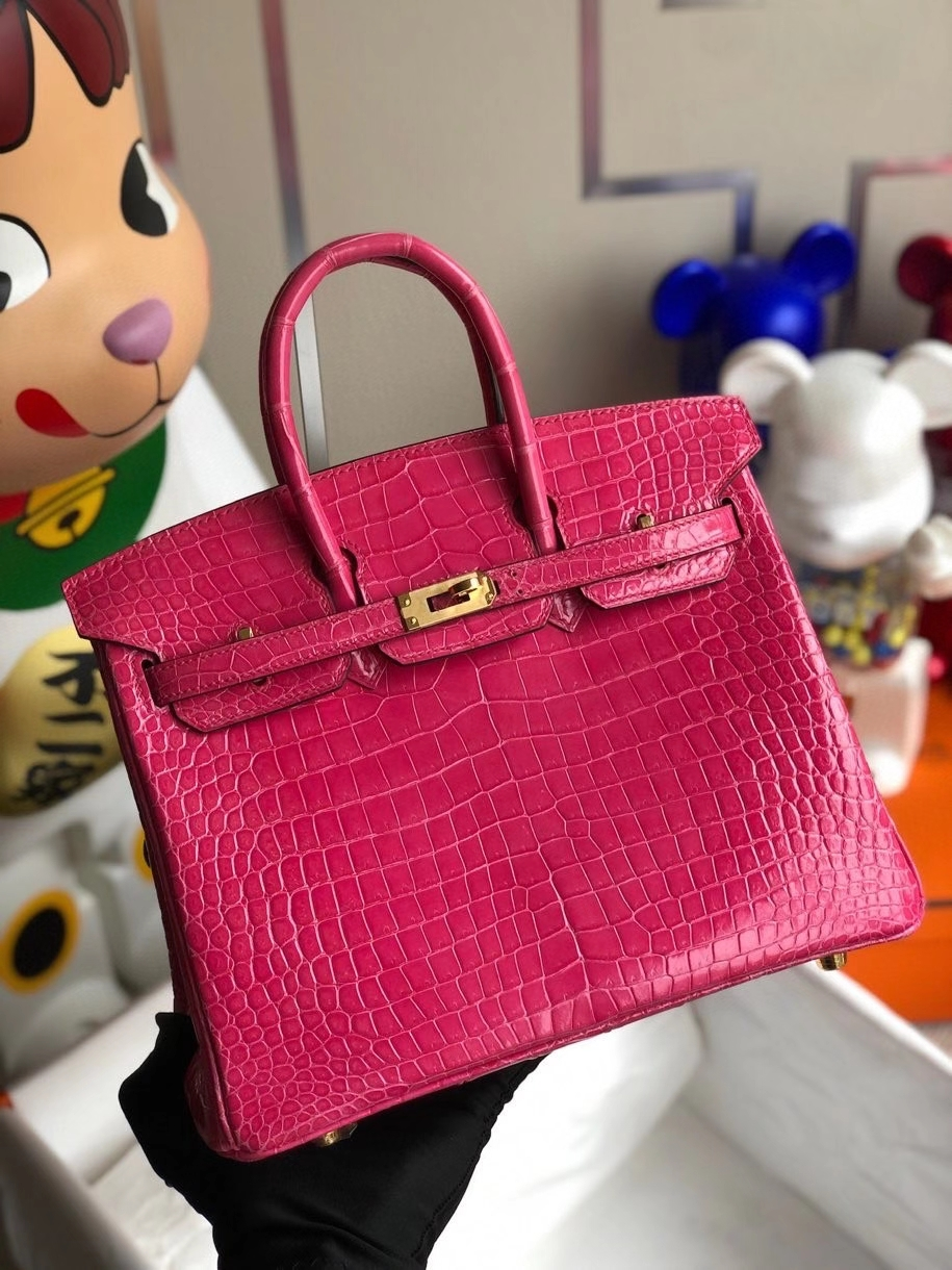 Hermès(爱马仕)Birkin 25cm Porosus shiny 亮面澳洲鳄鱼 5J 桃粉 金扣 顶级手缝 现货