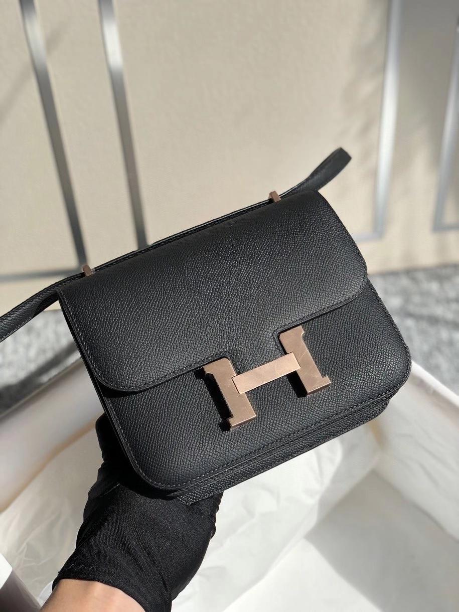 Hermès(爱马仕)Constance 18cm Epsom 原厂掌纹皮  ck89 黑色 Noir 玫瑰金扣 顶级手缝 现货