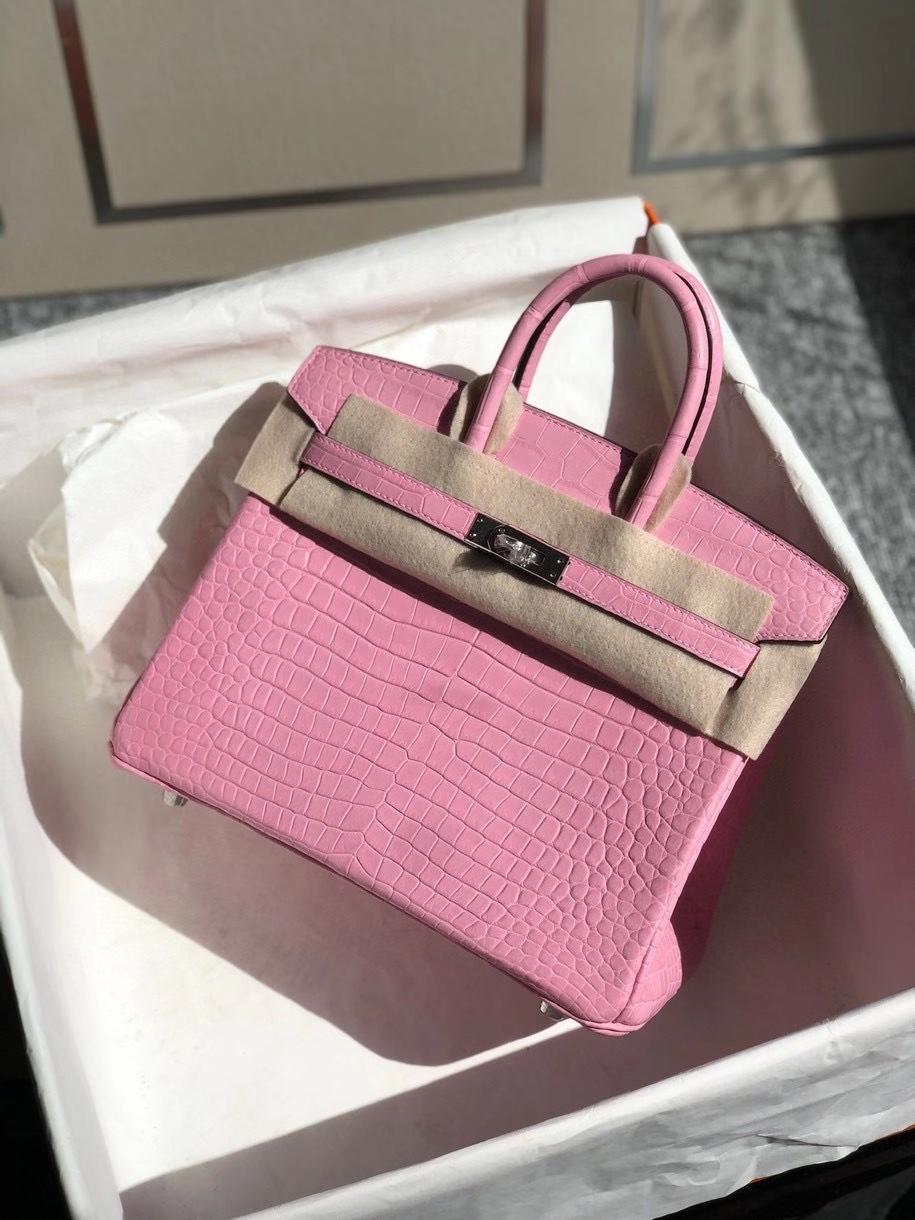 Hermès(爱马仕)Birkin 25cm Porosus matt 雾面澳洲湾鳄  5p 樱花粉 银扣 顶级手缝 品相完美 现货