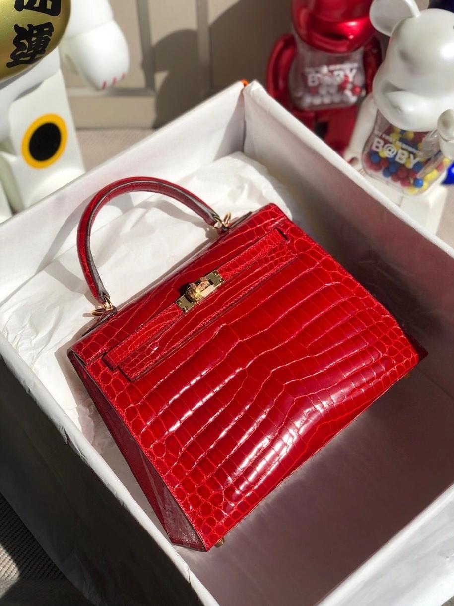 Hermès(爱马仕)Kelly 25cm Crocodile shiny 亮面鳄鱼  ck95 法拉利红 金扣 顶级手缝 现货