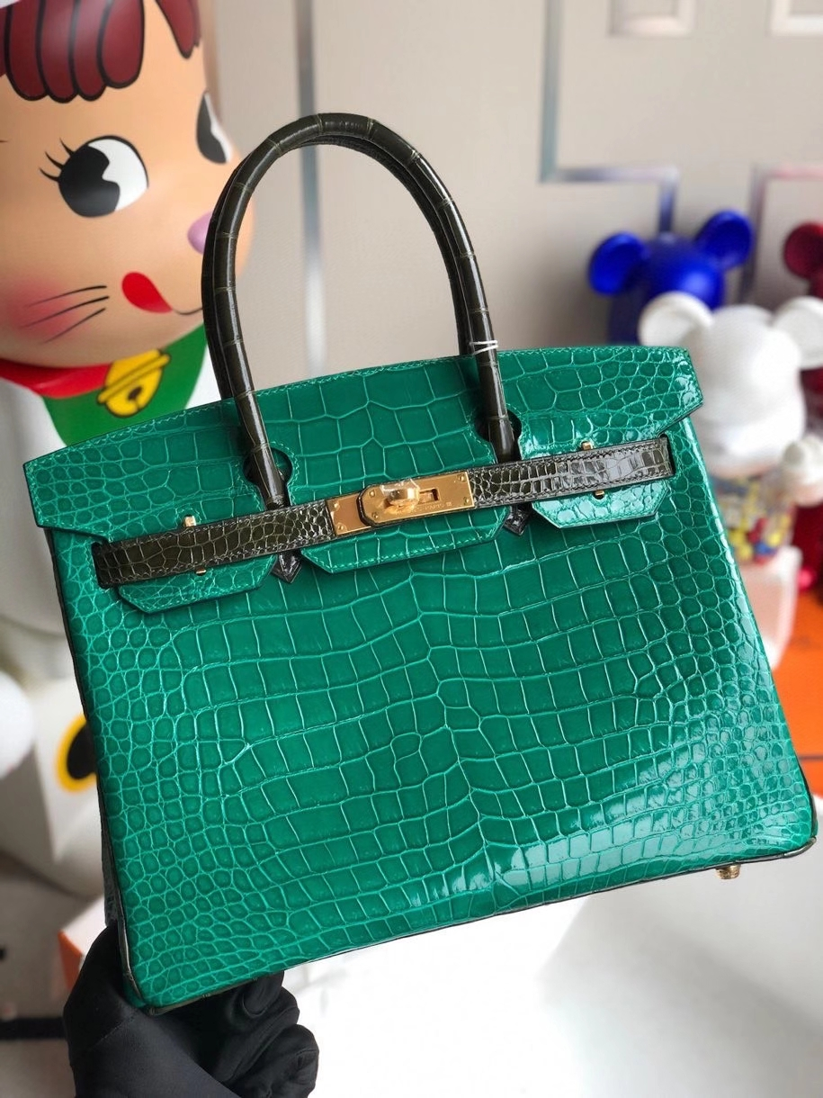 Hermès(爱马仕)Birkin 30cm Porosus shiny 亮面澳洲湾鳄 6Q翡翠绿 拼 v6 橄榄绿 金扣 马蹄印 顶级手缝 现货