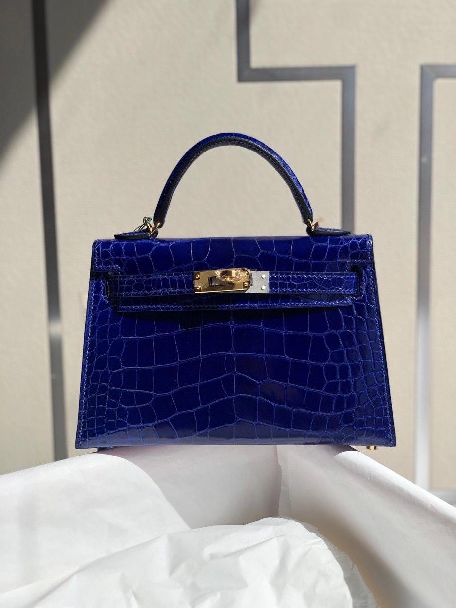 Hermès(爱马仕)Mini kelly ll alligator shiny 亮面鳄鱼 7T电光蓝 金扣 顶级手缝 小可爱 现货
