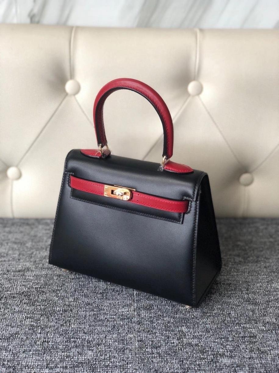 Hermès(爱马仕)Kelly 20cm Box calf ck89 黑色 拼国旗红 金扣