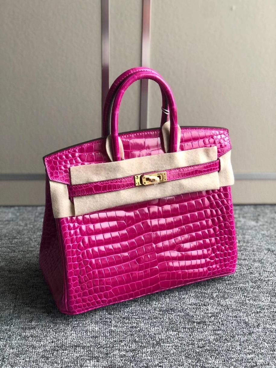 Hermès(爱马仕)Birkin 25cm Porosus shiny 亮面澳洲湾鳄 J5 天方夜谭粉紫  金扣 顶级手缝 现货