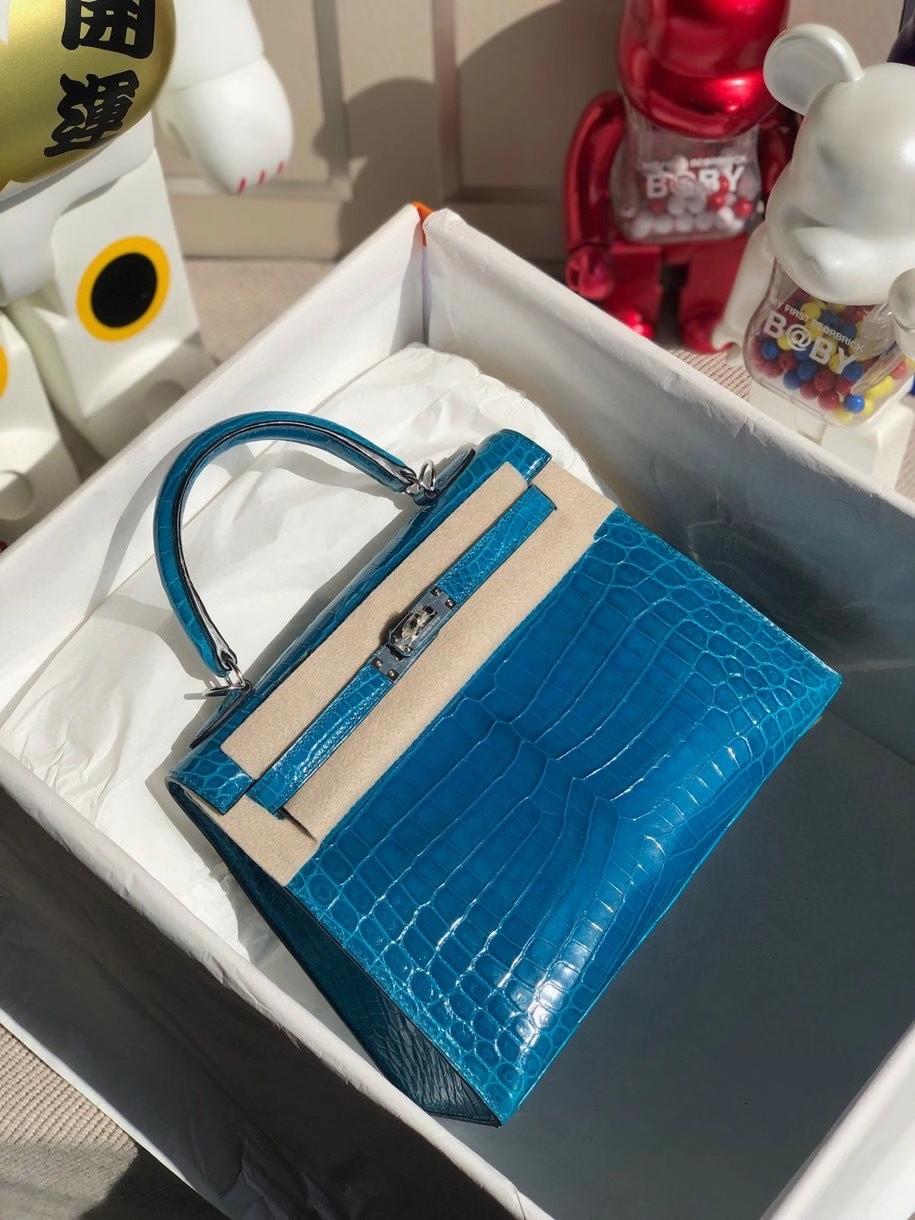 Hermès(爱马仕)Kelly 25cm Crocodile shiny 亮面鳄鱼 7w 伊兹密尔蓝 银扣 顶级手缝 现货