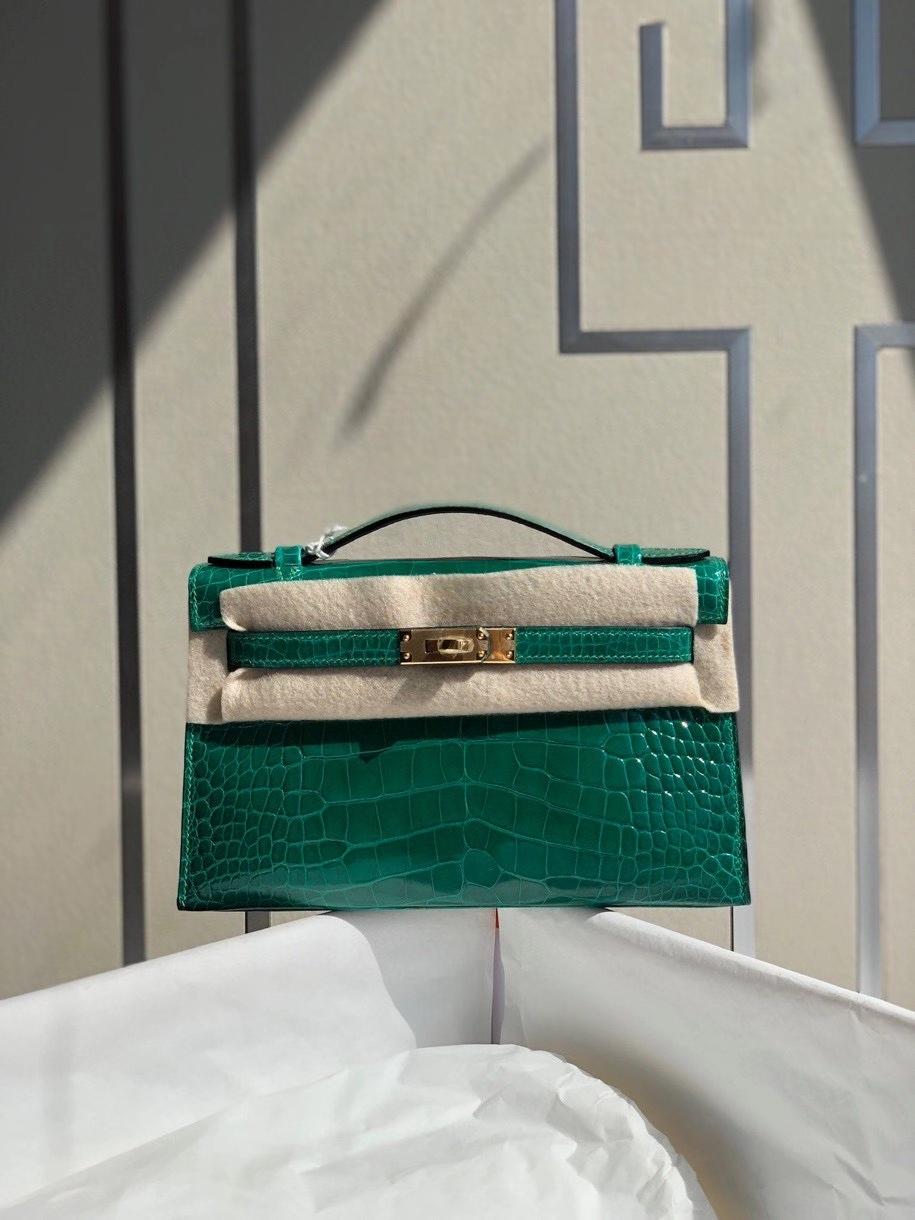 Hermès(爱马仕)Mini Kelly pochette 22cm Alligator shiny 亮面鳄鱼 6Q 翡翠绿 金扣 银扣 顶级手缝 现货