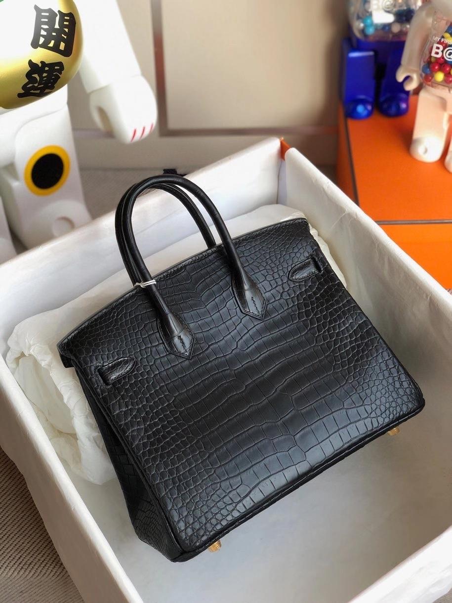 Hermès(爱马仕)Birkin 25cm Porosus matt 雾面鳄鱼 ck89 黑色 金扣 顶级手缝 定制