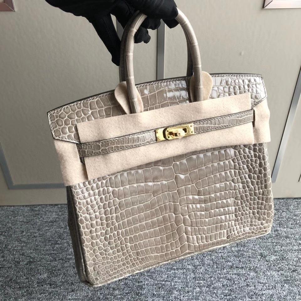 Hermès(爱马仕)Birkin 25cm Porosus shiny 亮面澳洲湾鳄 Ck81 斑鸠灰 Gris T 金扣 顶级手缝 现货