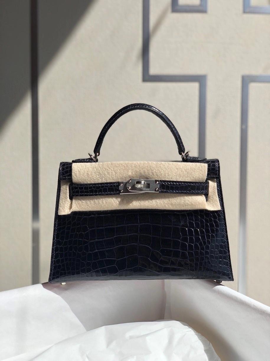 Hermès(爱马仕)Mini kelly ll alligator shiny 亮面鳄鱼 深海蓝 银扣 顶级手缝 小可爱 现货