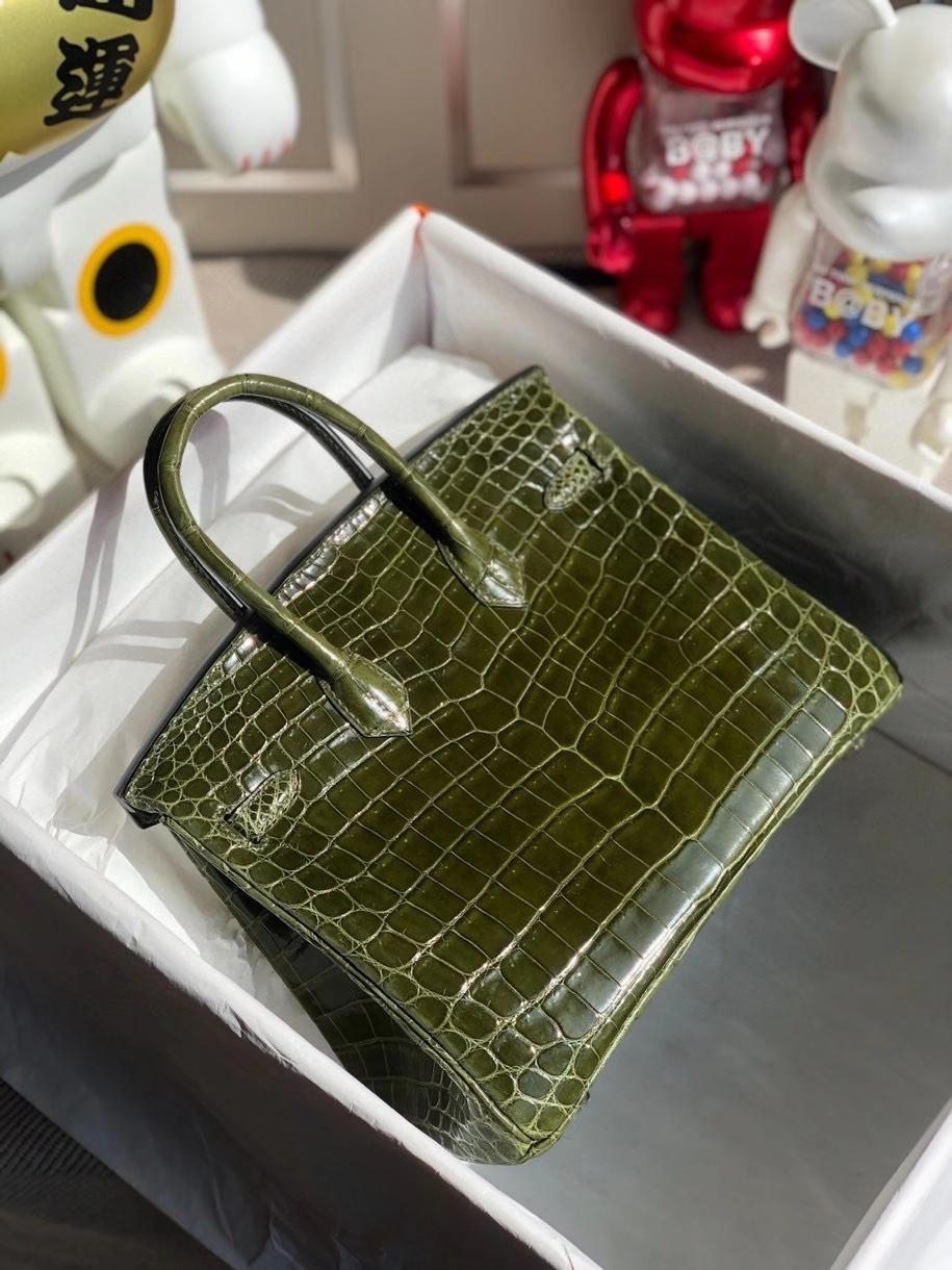 Hermès(爱马仕)Birkin 25cm Crocodile shiny 亮面鳄鱼 6H 橄榄绿 银扣 顶级手缝 品相完美 现货