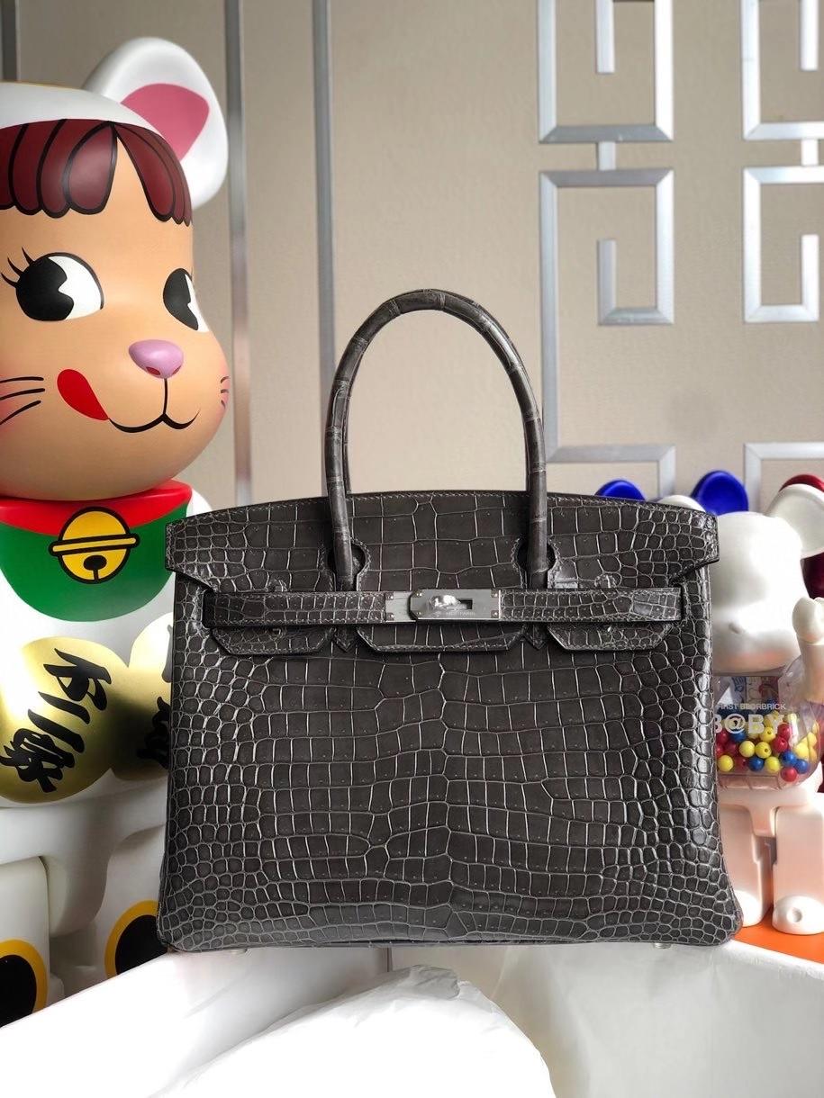 Hermès(爱马仕)Birkin 30cm Porosus shiny 亮面澳洲湾鳄ck88 石墨灰 graphite 金扣 银扣 顶级手缝
