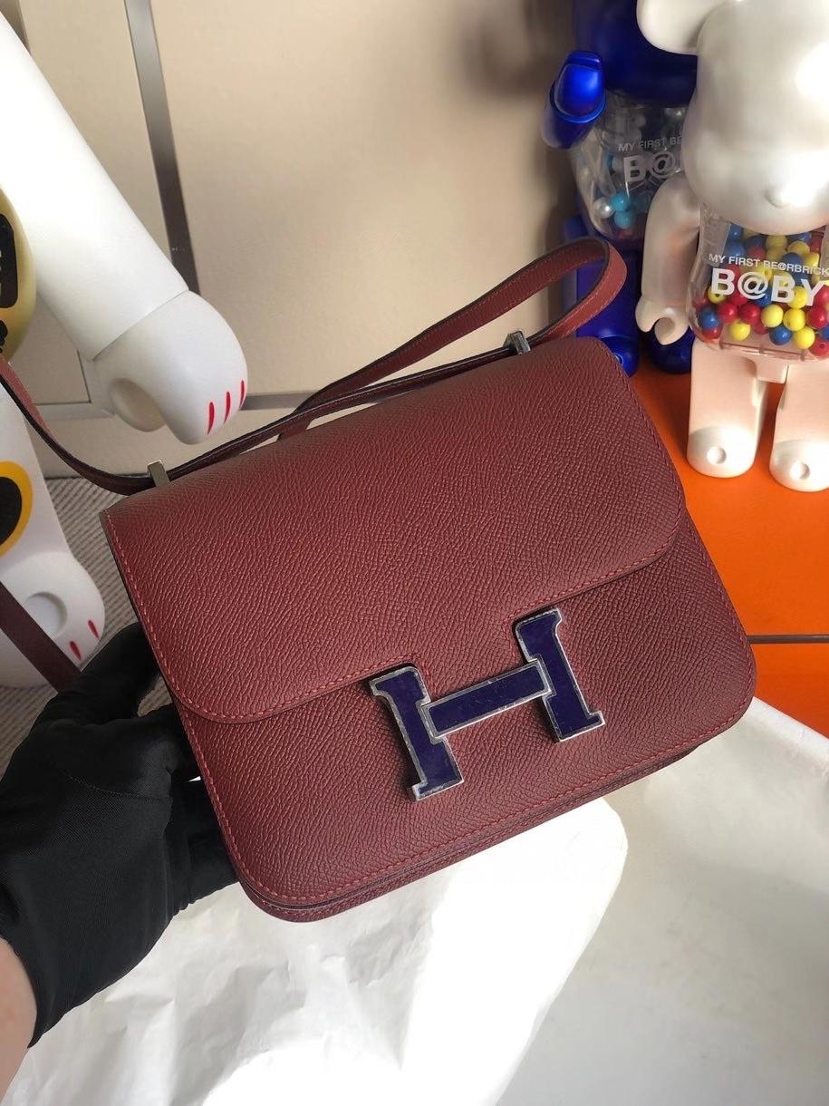 Hermès(爱马仕)Constance 18cm Epsom 原厂掌纹皮  ck55爱马仕红拼珐琅扣 银扣 顶级手缝  定制