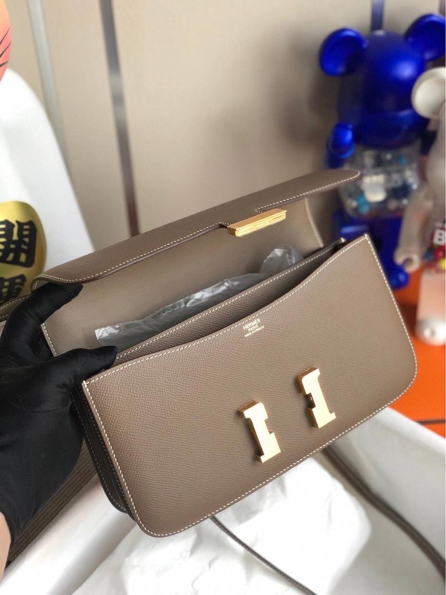 Hermès(爱马仕)Constance elan Epsom 原厂掌纹皮  ck18大象灰 Etoupe 金扣 顶级手缝