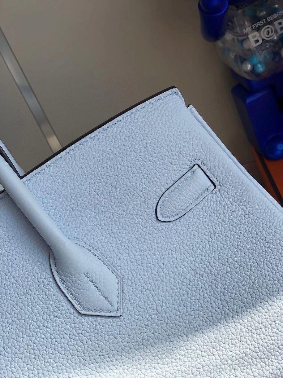 Hermès(爱马仕)Birkin 40cm 原厂小牛皮 T0雾蓝色 金扣 顶级手缝 定制
