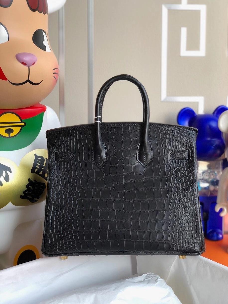 Hermès(爱马仕)Birkin 25cm alligator matt 雾面鳄鱼ck89 黑色 金扣 正品五金 顶级手缝 定制
