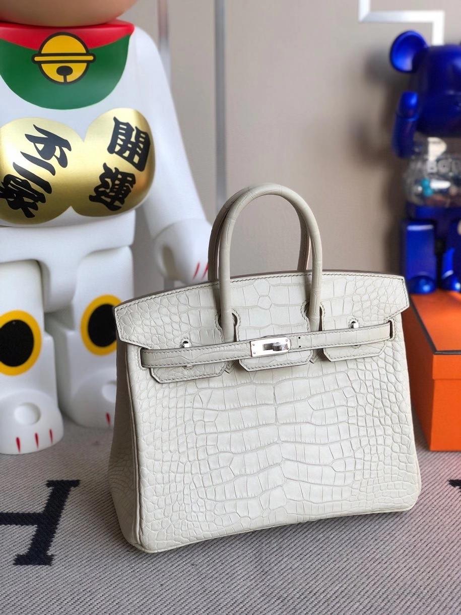 Hermès(爱马仕)Birkin 25cm Alligator matt雾面鳄鱼 8L 奶油白Beton 银扣 顶级手缝 现货