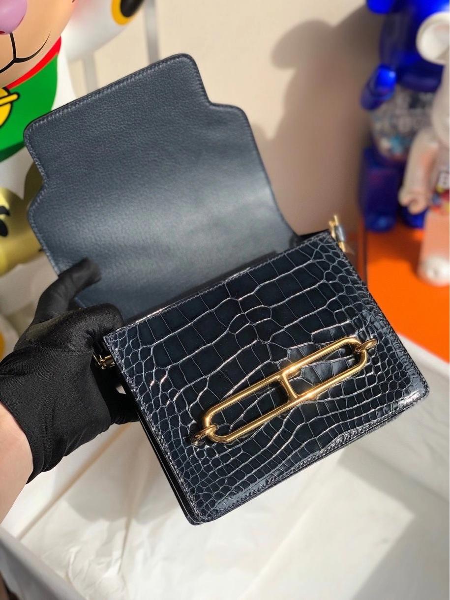 Hermès(爱马仕)Roulis 18cm Alligator  宝石蓝拼马耳他蓝 金扣 顶级手缝 现货
