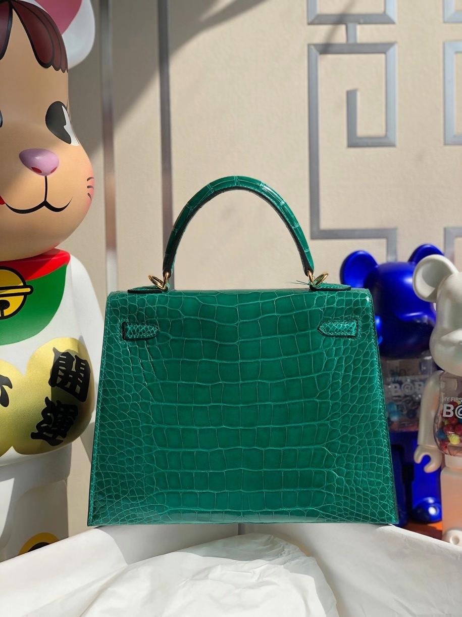 Hermès(爱马仕)Kelly 25cm Alligator shiny 亮面鳄鱼6Q 翡翠绿 金扣 顶级手缝  现货