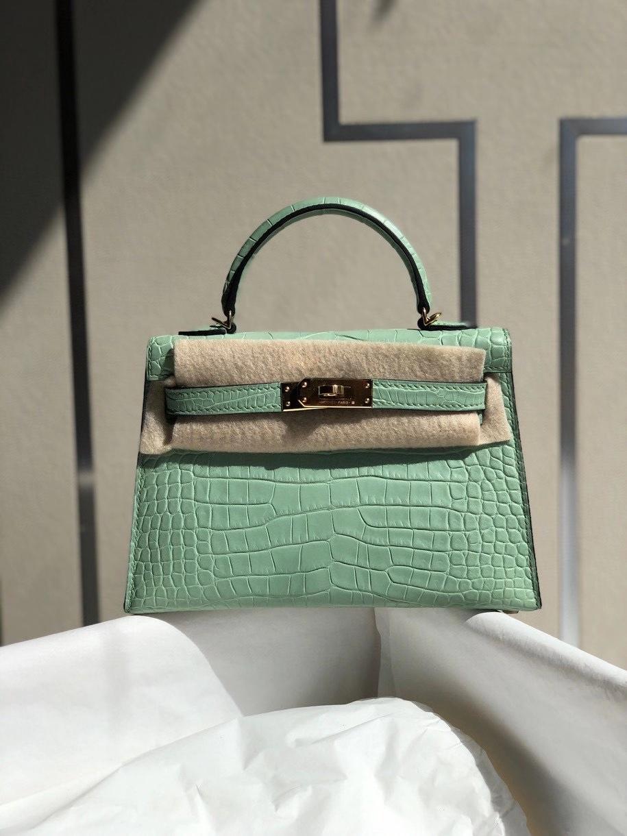 Hermès(爱马仕)Mini kelly ll alligator matt 雾面鳄鱼 6U 薄荷绿 金扣 顶级手缝 小可爱 现货