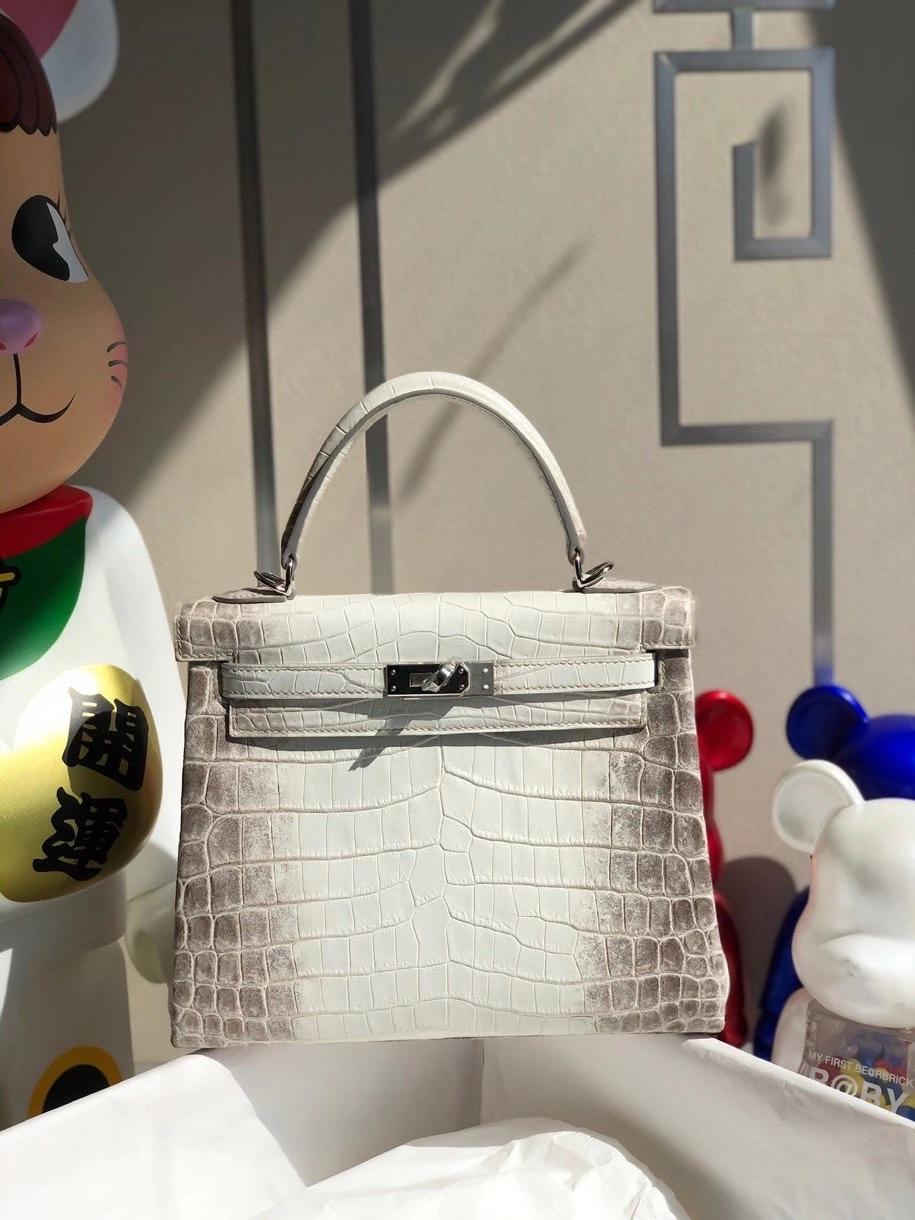 Hermès(爱马仕)Kelly 25cm himalaya 喜马拉雅 银扣 顶级手缝 女人的梦想包 银扣 现货