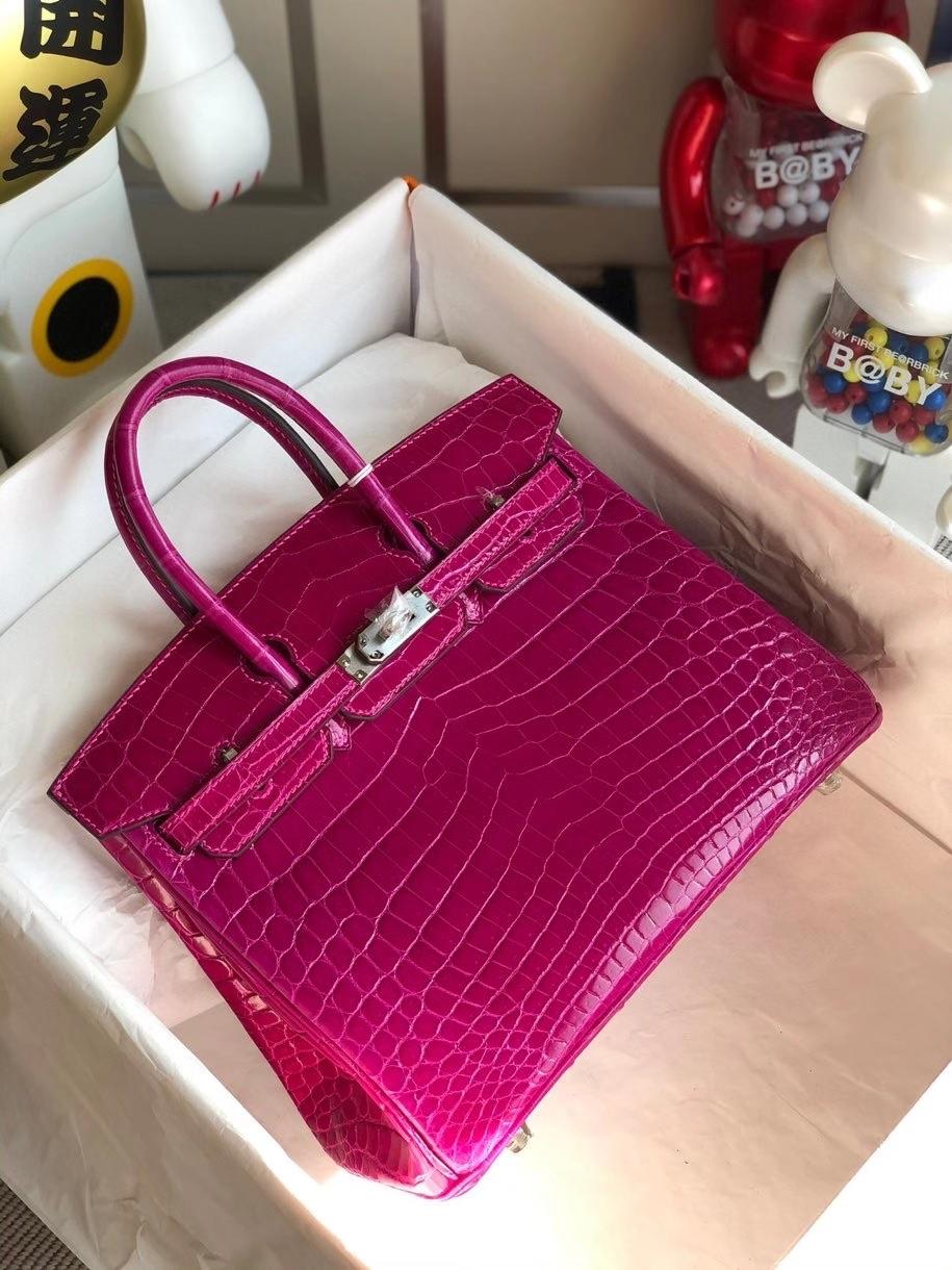 Hermès(爱马仕)Birkin 25cm Crocodile shiny 亮面鳄鱼 J5 天方夜谭粉紫 银扣 顶级手缝 现货