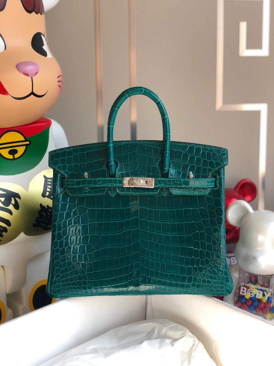 Hermès(爱马仕)Birkin 25cm Crocodile shiny 亮面鳄鱼 ck67 祖母绿 Vert fonce 金扣 顶级手缝 现货