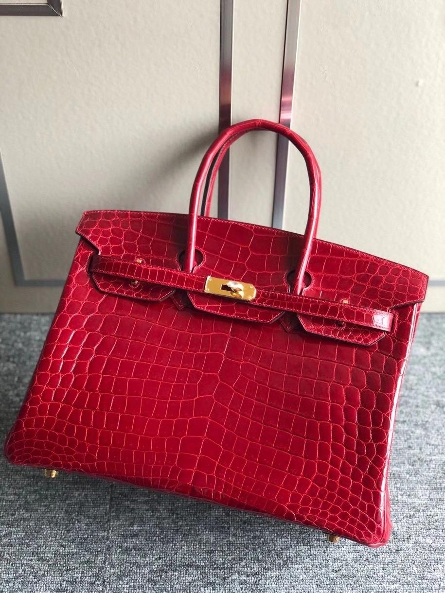 Hermès(爱马仕)Birkin 35cm Crocodile shiny 亮面鳄鱼 ck55 爱马仕红 Rouge H 金扣 顶级手缝 现货