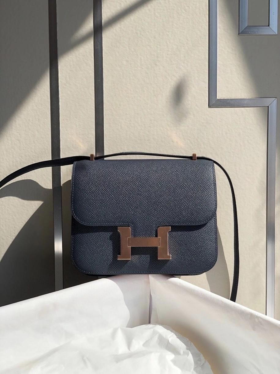Hermès(爱马仕)Constance 18cm Epsom 原厂掌纹皮 深海蓝 玫瑰金扣 顶级手缝 现货