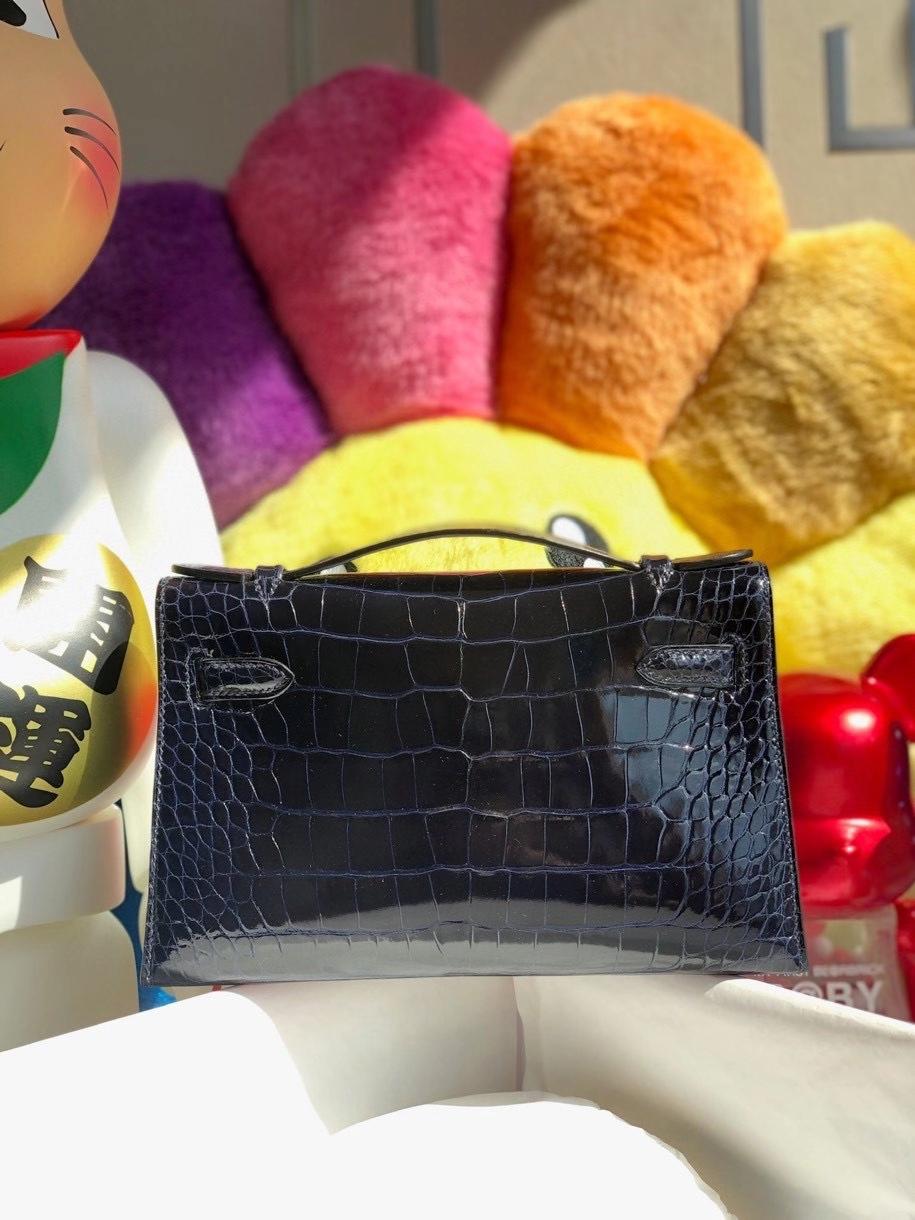 Hermès(爱马仕)Mini kelly pochette 22cm Alligator shiny 亮面鳄鱼 7k 宝石蓝 银扣 顶级手缝 晚宴包 现货